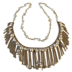 Pearl Necklace with fringes and cc logo